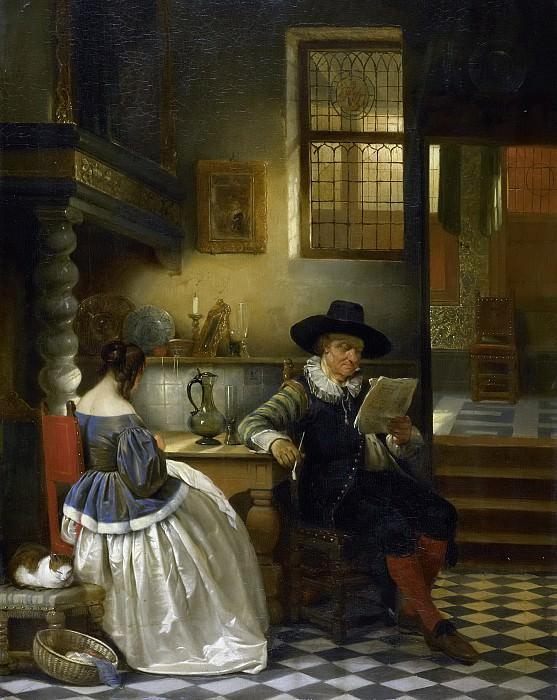 Leys, Henri (baron) -- Zeventiende-eeuws binnenhuis, 1838. Rijksmuseum: part 3