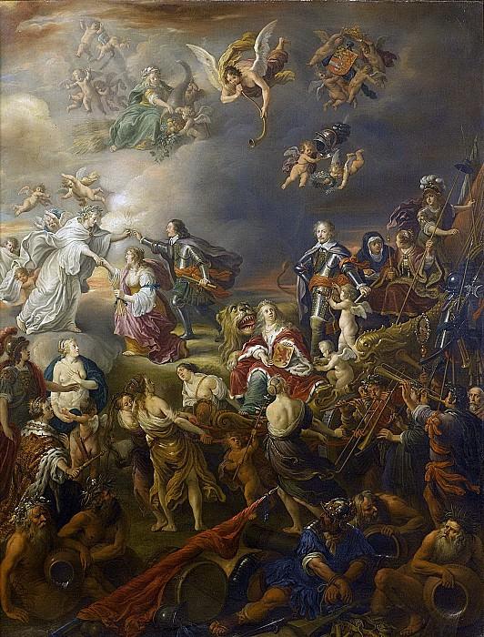 Nieulandt, Adriaen van (I) -- Allegorie op de vredestijd onder stadhouder Willem II, 1650. Rijksmuseum: part 3