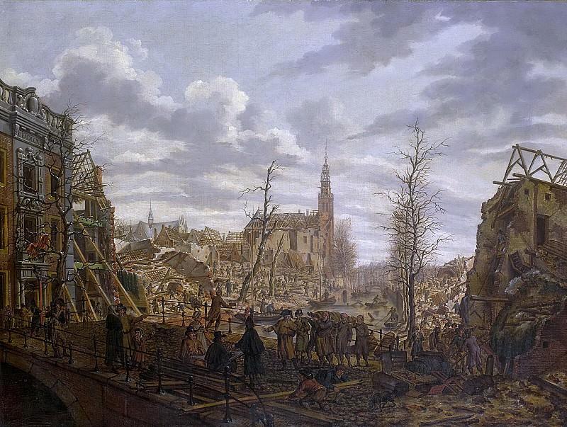 Jelgerhuis, Johannes -- Het Rapenburg te Leiden drie dagen na de ontploffing van het kruitschip op 12 januari 1807, 1807-01-15. Rijksmuseum: part 3