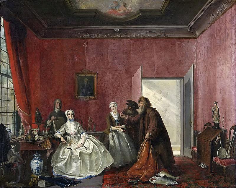 Корнелис Трост -- Иоанна и старьевщики; третье действие, пятая картина, из комедии Т.Асселейна -Необычный пеннинг- или -Расточительная женщина-, 1741. Рейксмузеум: часть 3
