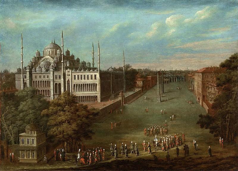 Жан Батист Ванмур -- Великий Визирь движется через Атмейдан; Голубая мечеть слева, 1727-1737. Рейксмузеум: часть 3