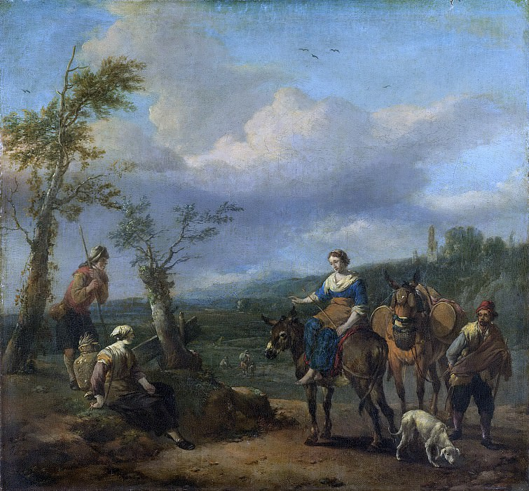 Lingelbach, Johannes -- Italiaans landschap met figuren, 1650-1674. Rijksmuseum: part 3