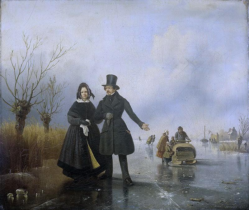 Sörensen, Jacobus -- Portret van de heer en mevrouw Thijssen op het ijs, 1845. Rijksmuseum: part 3
