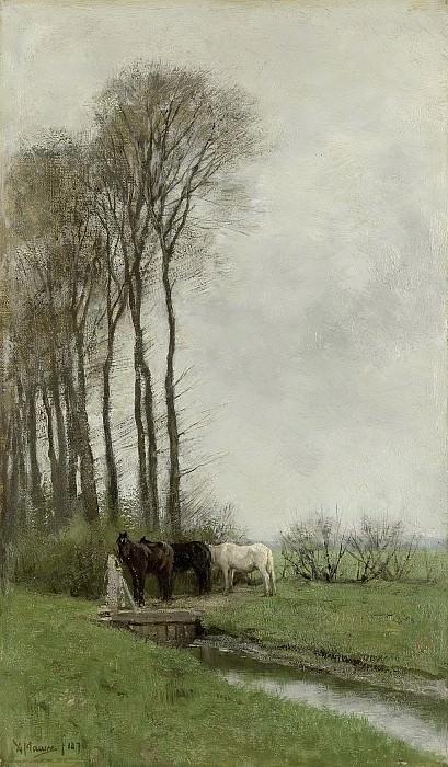 Mauve, Anton -- Paarden bij het hek, 1878. Rijksmuseum: part 3