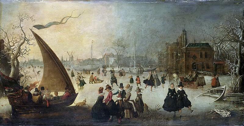 Breen, Adam van -- Landschap met een bevroren gracht, schaatsers en een ijsschuit, 1611. Rijksmuseum: part 3