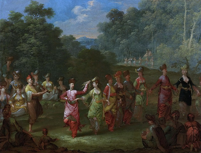 Жан Батист Ванмур -- Греческие мужчины и женщины, танцующие хору, 1727-1737. Рейксмузеум: часть 3