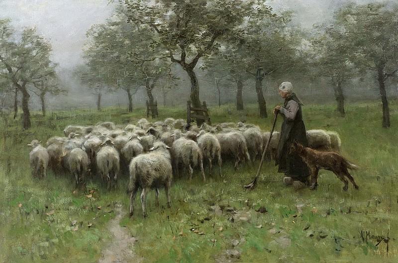 Антон Мауве -- Пастушка с отарой овец, 1870-1888. Рейксмузеум: часть 3