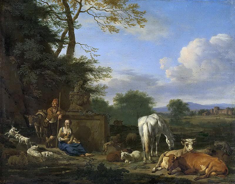 Адриан ван де Вельде-- Идиллический пейзаж, отдыхающие пастухи и домашний скот, 1664. Рейксмузеум: часть 3
