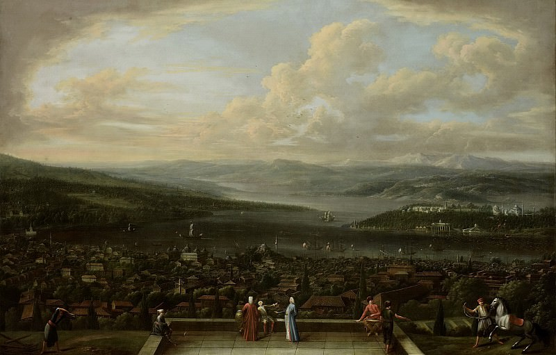 Vanmour, Jean Baptiste -- Gezicht op Constantinopel vanuit de Nederlandse ambassade te Pera, 1700-1743. Rijksmuseum: part 3