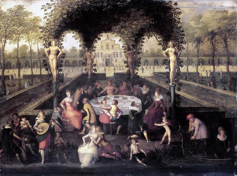 Луис де Кауллери -- Венера, Вакх и Церера со смертными в саду любви, 1590-1621. Рейксмузеум: часть 3