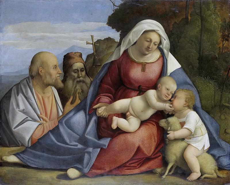 Unknown artist -- Maria met het kind, de kleine Johannes de Doper, Petrus en Antonius de Heremiet, 1515. Rijksmuseum: part 3