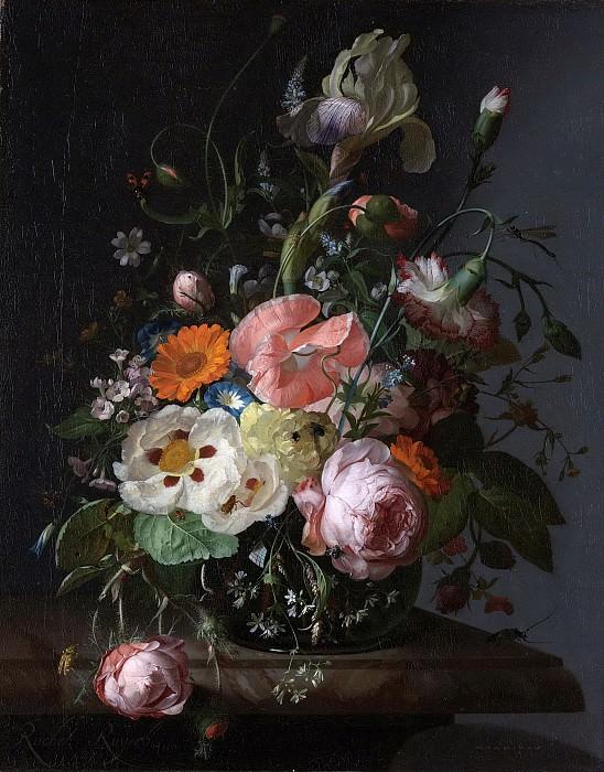 Рахель Рейш -- Натюрморт с цветами на мраморной полке, 1716. Рейксмузеум: часть 3