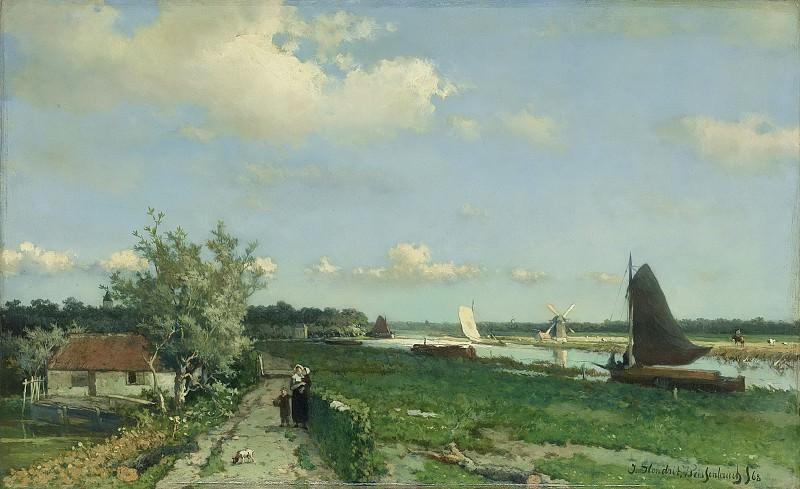 Weissenbruch, Johan Hendrik -- Gezicht bij de Geestbrug', de Trekvliet bij Rijswijk met in de verte links kasteel De Binckhorst en rechts de Laakmolen, 1868. Rijksmuseum: part 3