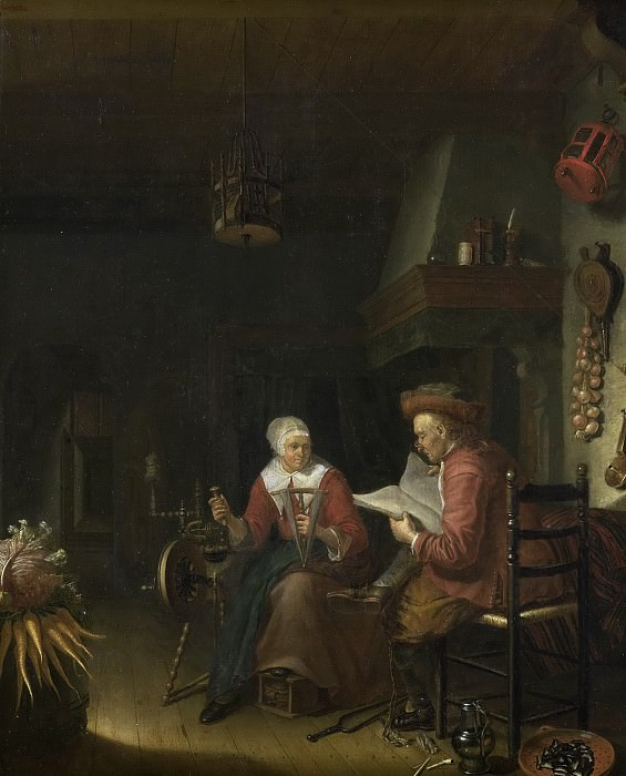 Tol, Domenicus van -- Binnenhuis met lezende man en haspelende vrouw, 1660-1676. Rijksmuseum: part 3