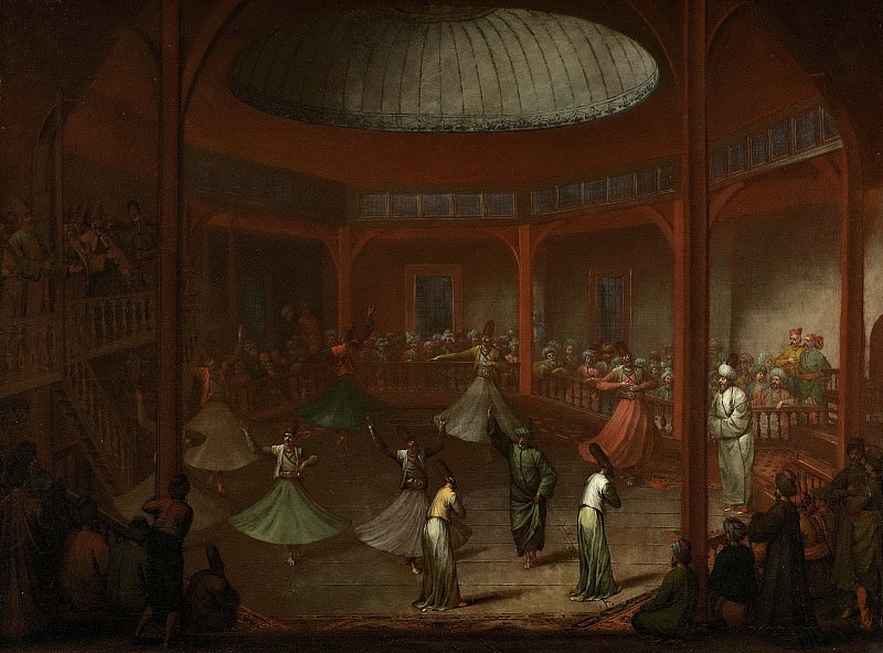 Vanmour, Jean Baptiste -- Dansende derwisjen in de Mevlevihane in Pera, 1730-1737. Rijksmuseum: part 3