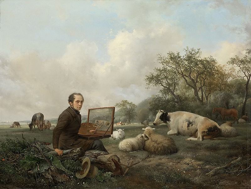 Хендрик ван де Санде Бакхёйзен -- Автопортрет на фоне луга с пасущимся скотом, 1850. Рейксмузеум: часть 3