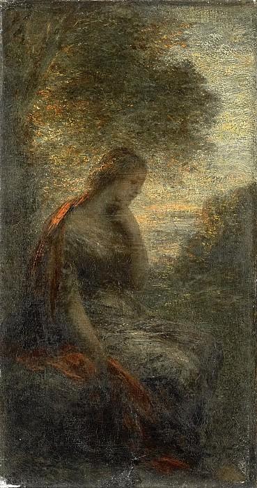 Анри Фантен-Латур -- Молодая женщина под деревом на закате или «Осень» , 1855-1900. Рейксмузеум: часть 3