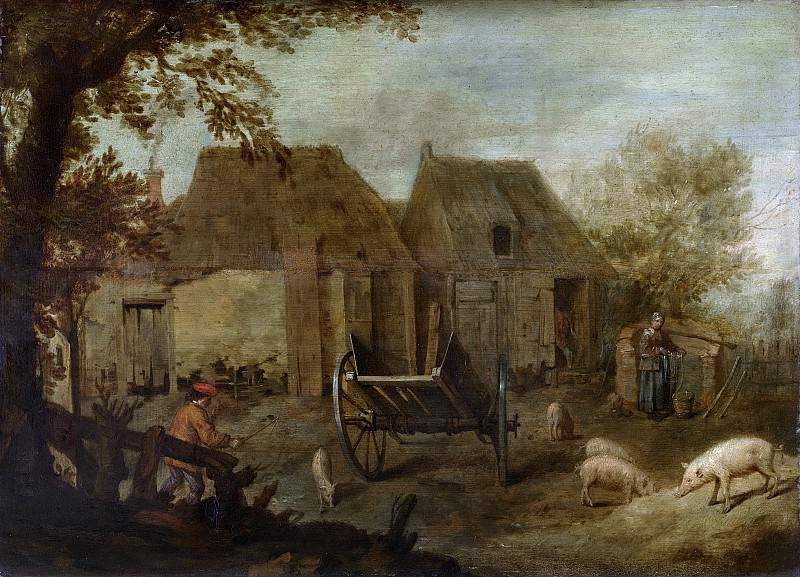 Unknown artist -- Boerenerf, 1640. Rijksmuseum: part 3