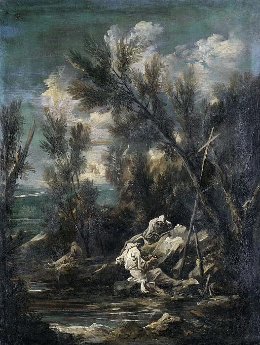 Алессандро Маньяско -- Монахи-картезианцы на фоне пейзажа, 1700-49. Рейксмузеум: часть 3