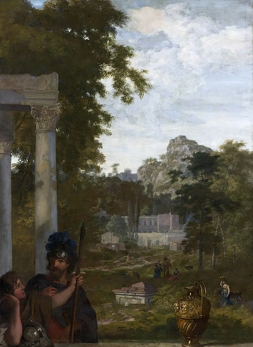Герард де Лайрессе -- Итальянский пейзаж и два римских солдата, 1687. Рейксмузеум: часть 3