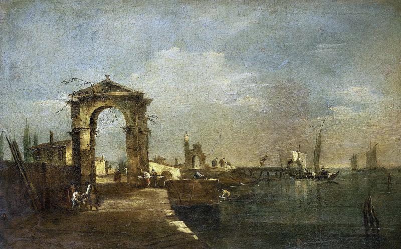 Guardi, Francesco -- Landschap met een kade en schepen op een meer, 1760-1780. Rijksmuseum: part 3