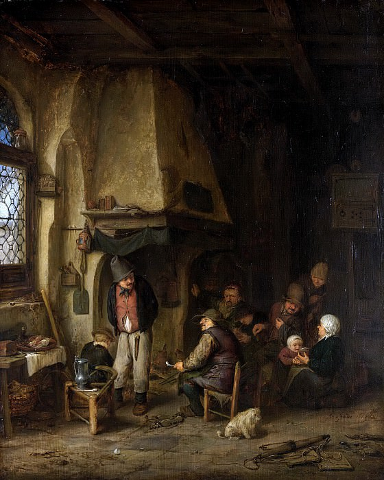 Адриан ван Остаде -- Компания крестьян-любителей кататься на коньках, 1650. Рейксмузеум: часть 3