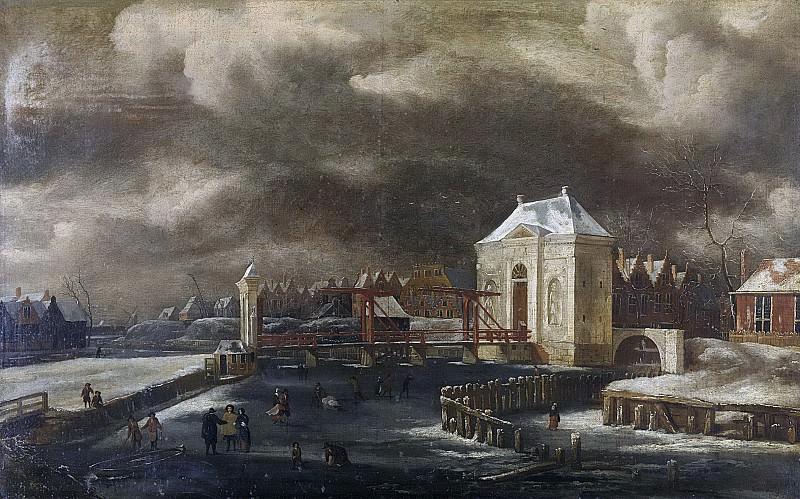 Kessel, Jan van (1641-1680) -- De Heiligewegspoort te Amsterdam in de winter, 1660-1680. Rijksmuseum: part 3