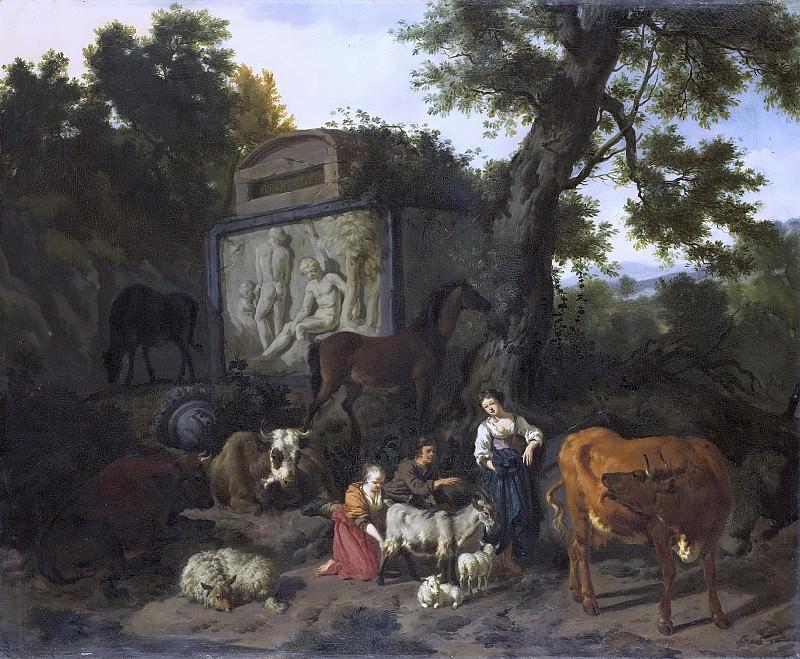 Bergen, Dirck van -- Landschap met herders en vee bij een graftombe., 1660-1690. Rijksmuseum: part 3