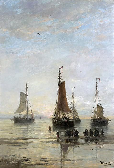 Хендрик Виллем Месдаг -- Схевенингенские бомы перед постановкой на якорь, 1860-89. Рейксмузеум: часть 3