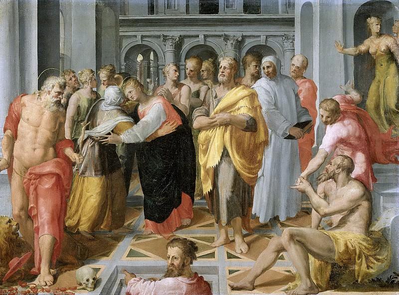 Tibaldi, Pellegrino -- De ontmoeting van Maria en Elisabeth in aanwezigheid van de heilige Hieronymus, de heilige Jozef en andere personen, 1550-1600. Rijksmuseum: part 3