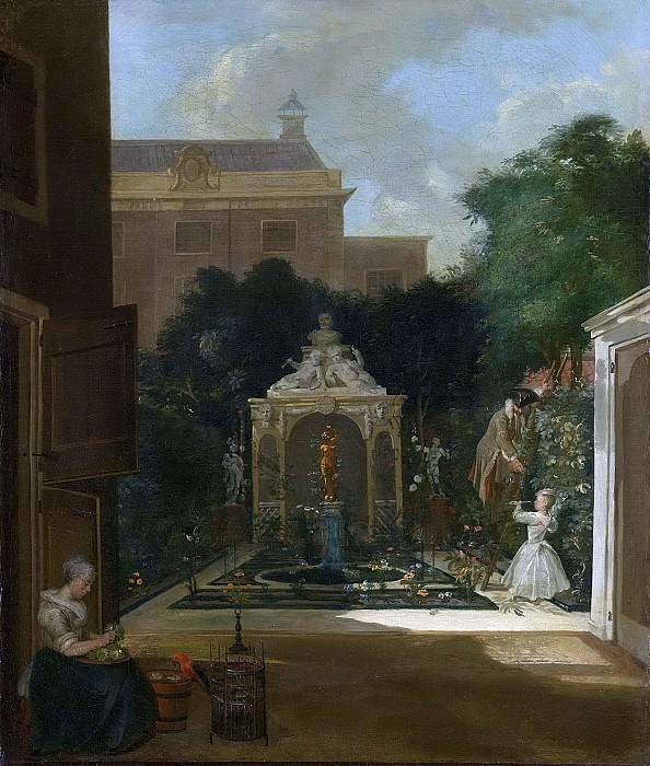 Корнелис Трост -- Сад при доме в Амстердаме, 1740-1745. Рейксмузеум: часть 3