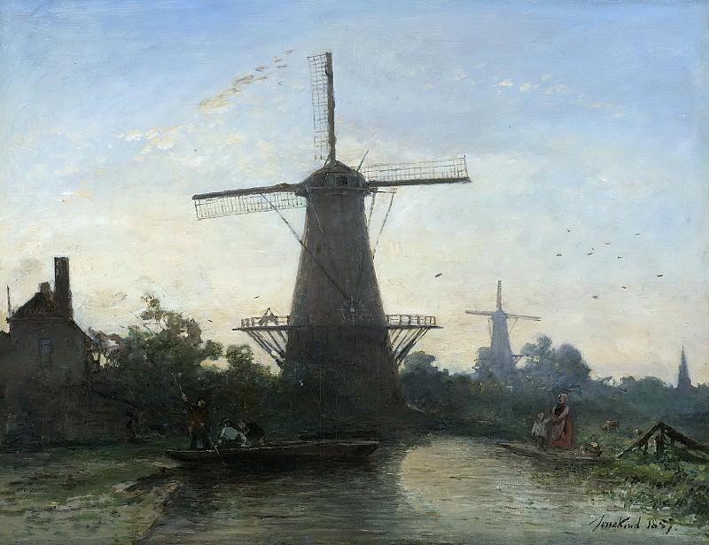 Jongkind, Johan Barthold -- Molens bij Rotterdam, 1857. Rijksmuseum: part 3