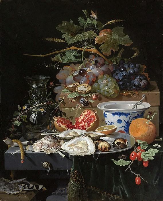 Mignon, Abraham -- Stilleven met vruchten, oesters en een porseleinen kom, 1660-1679. Rijksmuseum: part 3