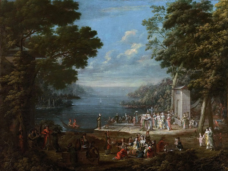 Жан Батист Ванмур -- Женский праздник в Хункьяре Искелечи у Босфора, 1727-1737. Рейксмузеум: часть 3