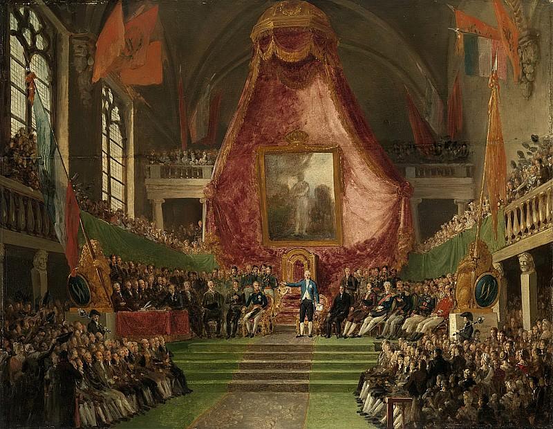 Bree, Mattheus Ignatius van -- De plechtige installatie van de Universiteit van Gent door de prins van Oranje in de troonzaal van het stadhuis op 9 oktober 1817., 1817-1830. Rijksmuseum: part 3
