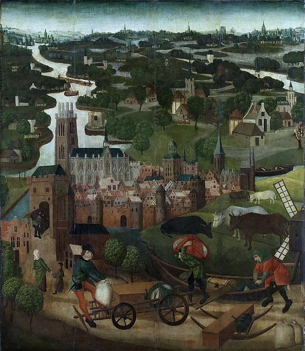 Мастер панелей со Св. Елизаветой -- Наружная сторона левого крыла запрестольного образа с изображением прилива 18-19 ноября 1421 г., а также с городом Дордрехтом на заднем плане, 1490-1495. Рейксмузеум: часть 3