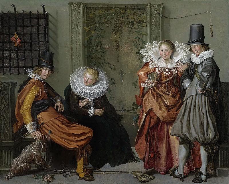 Виллем Питерс Бейтевех -- Благородное общество на террасе, 1616-20. Рейксмузеум: часть 3