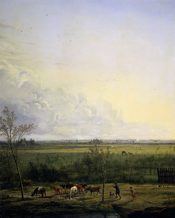 Питер Герард ван Ос -- Вид вдаль на луга у Гравеланда, 1817. Рейксмузеум: часть 3