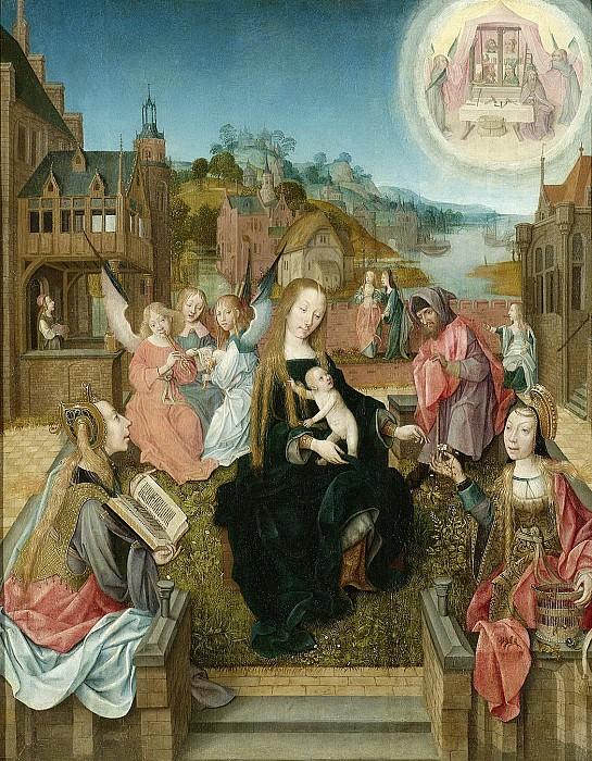 Meester van Delft -- Drieluik met Maria met kind en heiligen (middenpaneel), 1500-1510. Rijksmuseum: part 3
