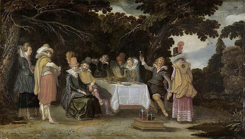 Velde, Esaias van de -- Voornaam gezelschap, dinerend in de buitenlucht, 1615. Rijksmuseum: part 3