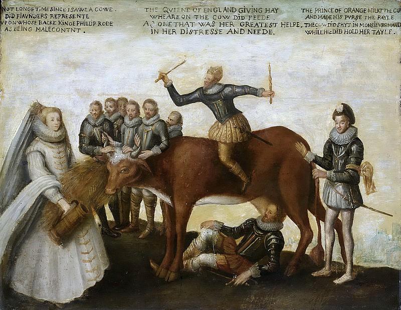 Unknown artist -- Het melkkoetje, satire op het uitbuiten der Nederlanden door de prins van Oranje, 1639. Rijksmuseum: part 3