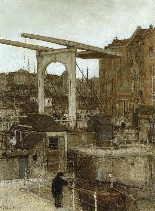 Maris, Matthijs -- De Nieuwe Haarlemse Sluis bij het Singel, genaamd 'Souvenir d'Amsterdam, 1871. Rijksmuseum: part 3
