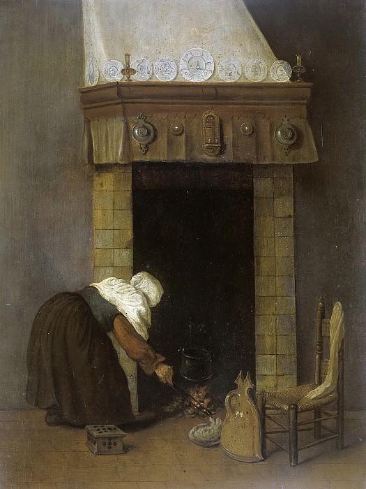 Vrel, Jacob -- Vrouwtje bij de schouw, 1654-1662. Rijksmuseum: part 3