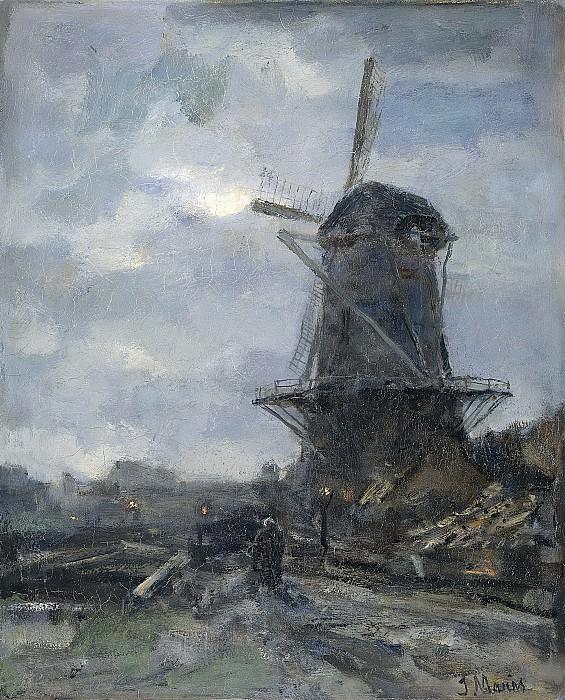 Maris, Jacob -- Molen bij maanlicht, 1899. Rijksmuseum: part 3