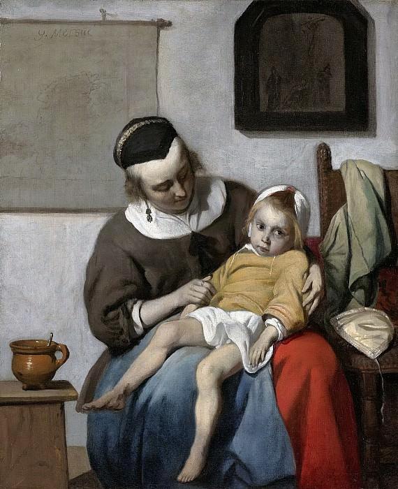 Metsu, Gabriël -- Het zieke kind, 1663-1664. Rijksmuseum: part 3