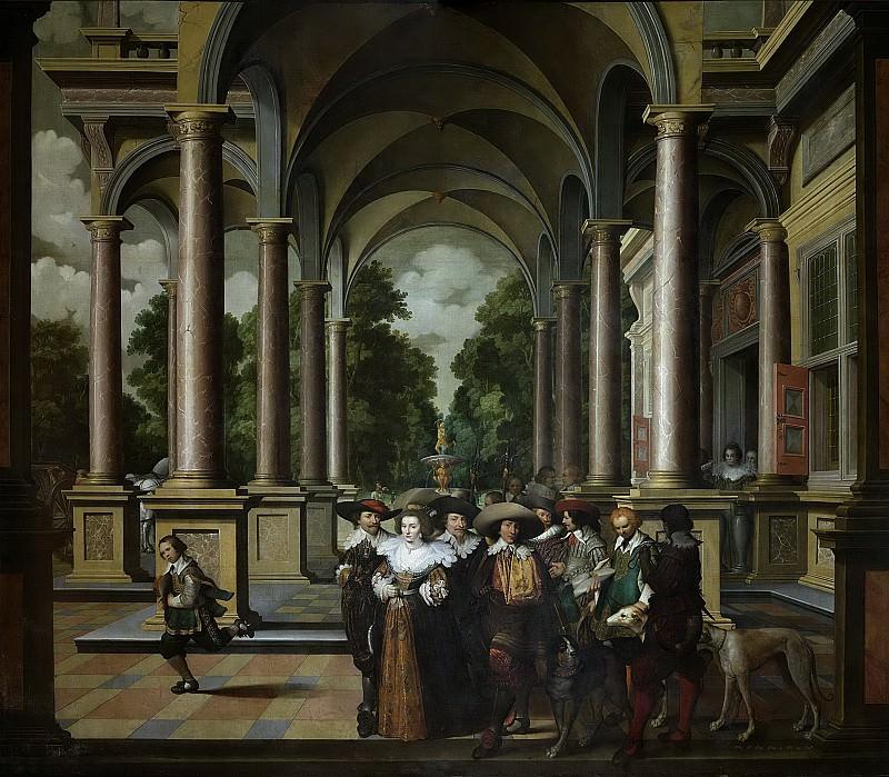 Delen, Dirck van -- Een galerij. Onderdeel van een zevendelige kamerbeschildering, 1630-1632. Rijksmuseum: part 3