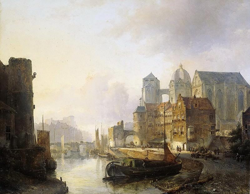 Karsen, Kasparus -- Gefantaseerd gezicht in een stad aan een rivier met de Dom te Aken, 1846. Rijksmuseum: part 3