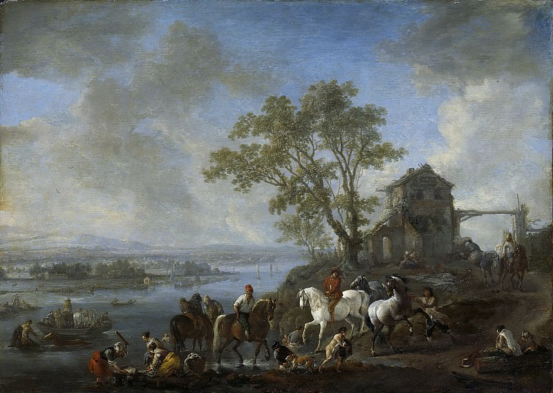 Воуверман, Филипс -- Норовистая лошадь у реки, 1650-1668. Рейксмузеум: часть 3