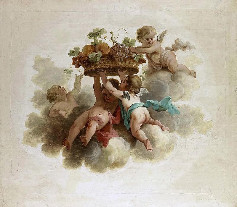 Unknown artist -- Vier putti die een vruchtenmand dragen, 1725-1774. Rijksmuseum: part 3