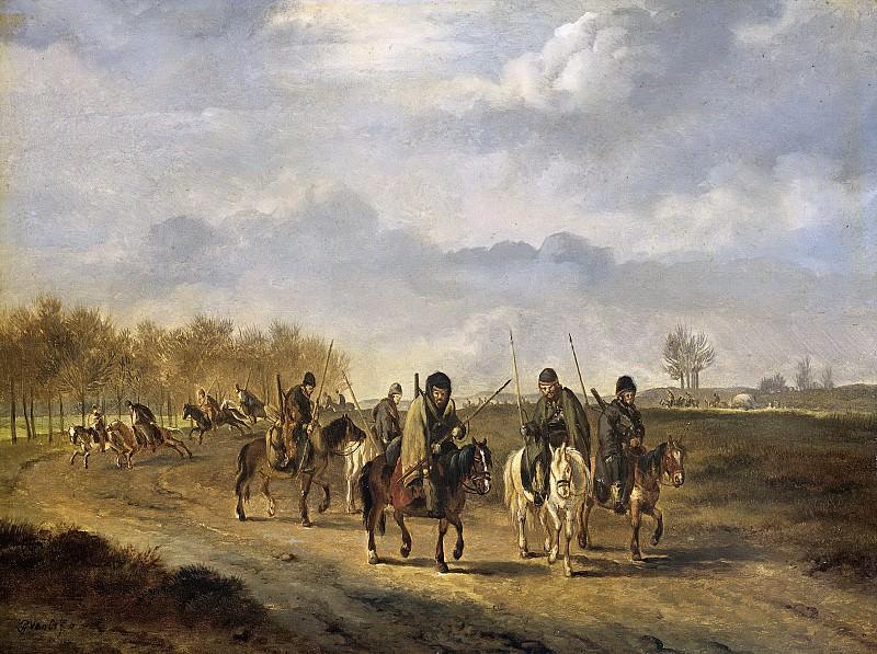 Os, Pieter Gerardus van -- Kozakken op een landweg bij Bergen in Noord-Holland, 1813, 1813-1815. Rijksmuseum: part 3